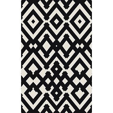 Mercer41 Hemel Handmade Black/Beige Geometric Area Rug; 2' x 3'