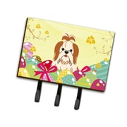 The Holiday Aisle Easter Eggs Contemporary Shih Tzu Leash or Key Holder; Red/White