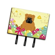The Holiday Aisle Easter Eggs English Bulldog Rectangle Metal Leash or Key Holder; Brown