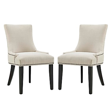 Red Barrel Studio Enfield Upholstered Dining Chair (Set of 2); Beige