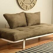 Ebern Designs Everett Convertible Lounger Futon and Mattress; Suede Olive