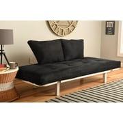 Ebern Designs Everett Convertible Lounger Futon and Mattress; Suede Black
