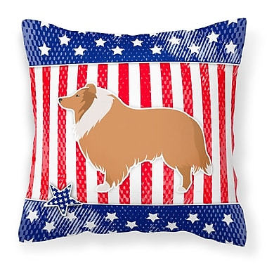 The Holiday Aisle Patriotic USA Collie Indoor/Outdoor Throw Pillow; 14'' H x 14'' W x 3'' D