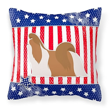 The Holiday Aisle Patriotic USA Shih Tzu Indoor/Outdoor Throw Pillow; 14'' H x 14'' W x 3'' D