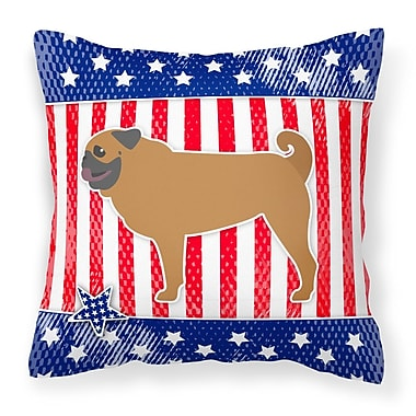 The Holiday Aisle Patriotic USA Pug Indoor/Outdoor Throw Pillow; 14'' H x 14'' W x 3'' D