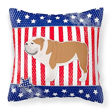 The Holiday Aisle Patriotic Blue/Red Fabric Indoor/Outdoor Throw Pillow; 14'' H x 14'' W x 3'' D