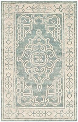 Ophelia & Co. Ellisburg Hand-Knotted Ivory/Blue Area Rug; 2' x 3'