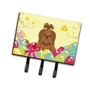 The Holiday Aisle Easter Eggs Contemporary Shih Tzu Leash or Key Holder; Silver/Chocolate