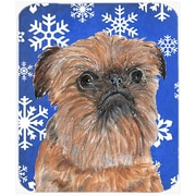 The Holiday Aisle Brussels Griffon Rectangle Snowflake Glass Cutting Board; Blue/White