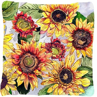 August Grove Landon Sunflowers and Green Leaves Indoor/Outdoor Throw Pillow