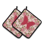 August Grove Julian Butterfly Shabby Elegance Roses Potholder (Set of 2)