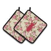 August Grove Jasper Beetle Shabby Elegance Roses Square Yellow/Pink Potholder (Set of 2)