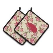 August Grove Jasper Beetle Shabby Elegance Roses Yellow/Pink Potholder (Set of 2)