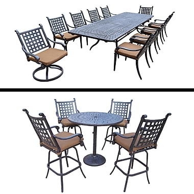 Darby Home Co Arness 16 Piece Metal Dining Set and Bar Set
