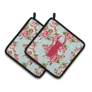 August Grove Jasper Beetle Shabby Elegance Roses Square Pink/Blue Potholder (Set of 2)