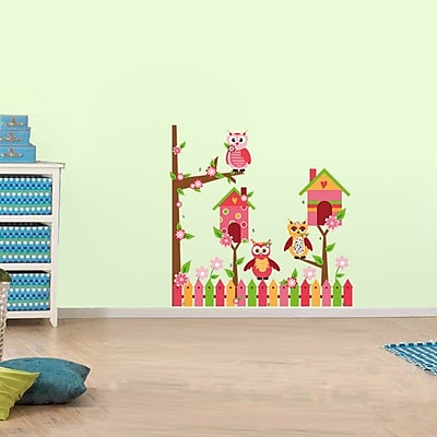 RetailSource Fenced Birdhouses and Tree Wall Decal