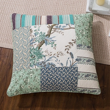 August Grove Ethan Floral Patchwork Forest Glade Cotton Euro Sham