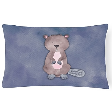 Zoomie Kids Sabine Beaver Watercolor Lumbar Pillow