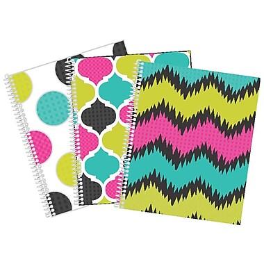 Hilroy® - Cahier de notes Electric Geo, 1 sujet, reliure à spirale double, 80 feuilles, 10 1/2 x 8 5/8 po, motifs variés