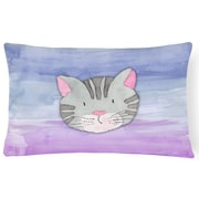Zoomie Kids Marquis Cat Face Watercolor Lumbar Pillow