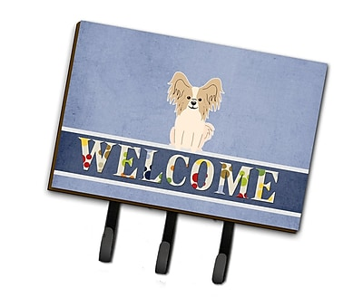 East Urban Home Papillon Welcome Leash or Key Holder; Red