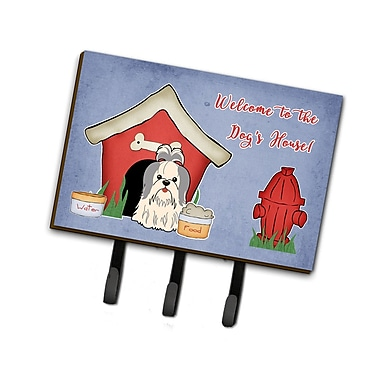 East Urban Home Dog House Shih Tzu Leash or Key Holder; GrayWhite