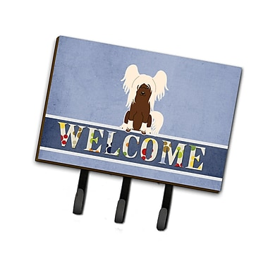 East Urban Home Chinese Crested Welcome Leash or Key Holder; White/Brown