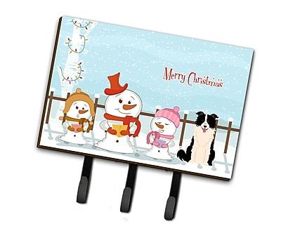 The Holiday Aisle Merry Christmas Carolers Border Collie Leash or Key Holder; Gloss/Black