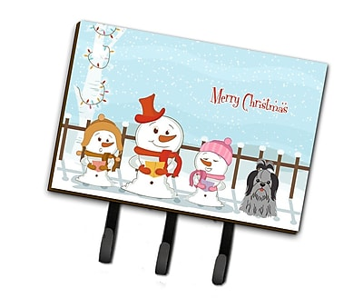 The Holiday Aisle Merry Christmas Carolers Shih Tzu Leash or Key Holder; Black / Silver