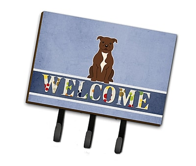 East Urban Home Staffordshire Bull Terrier Welcome Leash or Key Holder; Chocolate