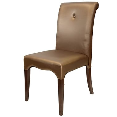 Ceets Scroll Parsons Chair in Leatherette - Champagne Pearlized (Set of 2)