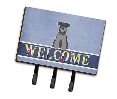 East Urban Home Miniature Schanuzer Welcome Leash or Key Holder; Black / Silver