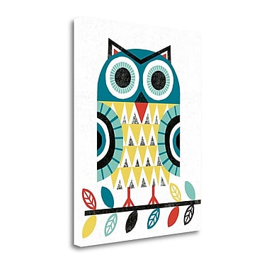 Tangletown Fine Art 'Folk Lodge Owl V2 Teal' Graphic Art Print on Canvas; 40'' H x 32'' W