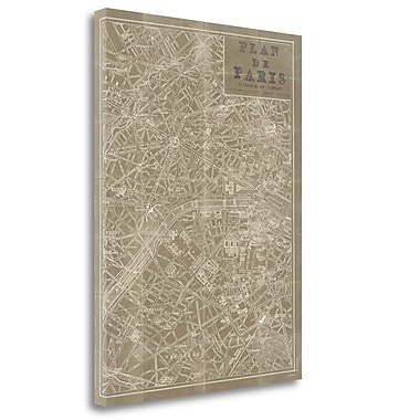 Tangletown Fine Art 'Blueprint Map Paris Taupe' Graphic Art Print on Canvas; 33'' H x 25'' W
