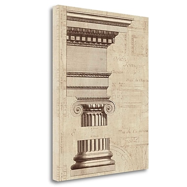 Tangletown Fine Art 'Architectural Rendering II Burlap Sepia Crop' Graphic Art Print on Canvas