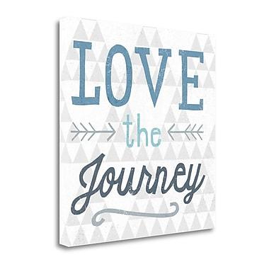 Tangletown Fine Art 'Mod Triangles Love the Journey Blue' Textual Art on Canvas; 26'' H x 26'' W
