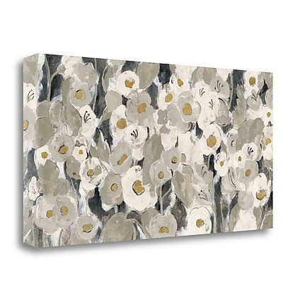 Tangletown Fine Art 'Velvety Florals Neutral' Print on Wrapped Canvas; 20'' H x 39'' W