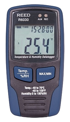 REED R6030 Temperature & Humidity Datalogger, Lcd, -40/158degF, -40/70degC, 0-100%Rh