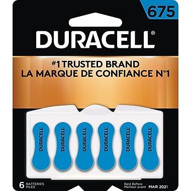 Duracell® 1.4 Volt Hearing Aid Zinc Air EasyTab Batteries, Size 675, 6/Pack