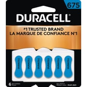 Duracell® 1.4 Volt Hearing Aid Zinc Air EasyTab Batteries, Size 675, 6/Pack