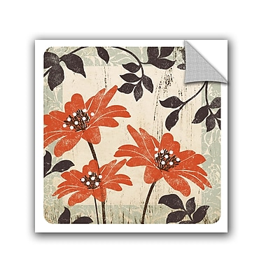 Winston Porter Jackie Orange and Brown Floral I Wall Decal; 24'' H x 24'' W x 0.1'' D