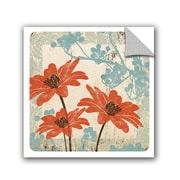 Winston Porter Jackie Orange and Blue Floral Wall Decal; 14'' H x 14'' W x 0.1'' D