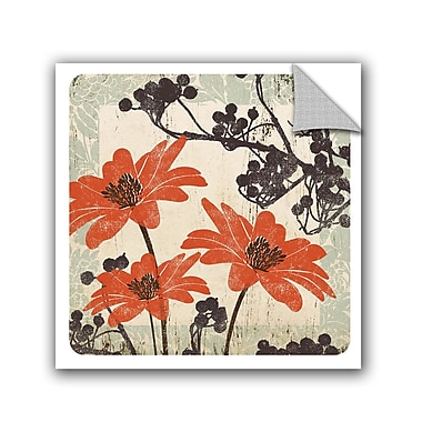 Winston Porter Jackie Orange and Brown Floral II Wall Decal; 18'' H x 18'' W x 0.1'' D