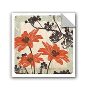 Winston Porter Jackie Orange and Brown Floral II Wall Decal; 14'' H x 14'' W x 0.1'' D