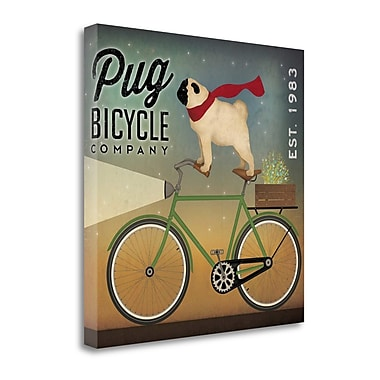 Tangletown Fine Art 'Pug on a Bike' by Ryan Fowler Graphic Art on Wrapped Canvas; 20'' H x 20'' W