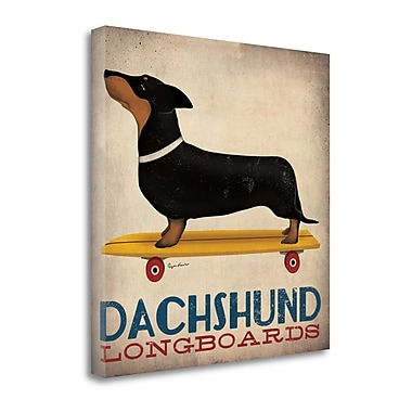 Tangletown Fine Art 'Dachshund Longboards' by Ryan Fowler Graphic Art on Wrapped Canvas