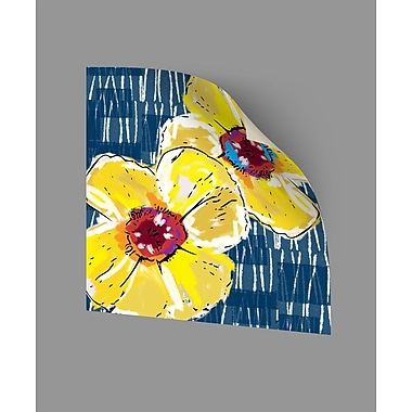 ArtWall Yellow Poppies on Blue Wall Decal; 36'' H x 36'' W x 0.1'' D