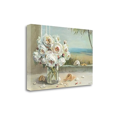 Tangletown Fine Art 'Coastal Roses v.2' by Danhui Nai Painting Print on Wrapped Canvas