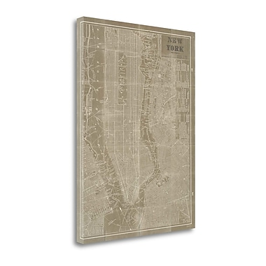 Tangletown Fine Art 'Blueprint Map New York Taupe' Graphic Art Print on Canvas; 37'' H x 28'' W
