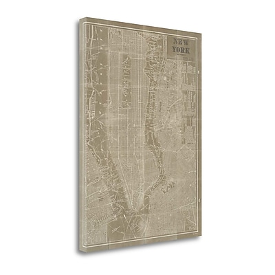 Tangletown Fine Art 'Blueprint Map New York Taupe' Graphic Art Print on Canvas; 28'' H x 21'' W